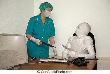 momie, semblable, patient, docteur
