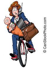 momma, fahrrad
