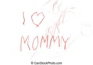 mommy, 子供, 愛, 図画