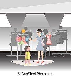 Mommy and Little Daughter Shopping Together in shop