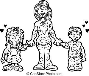 MOMMY - cartoon mother holding hands with her two children
