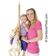 Mommy, Me and a Carousel Horse