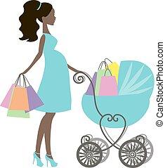 mommy, modernos, silueta, menina, vindima, lojas, fundo, pretas, online, branca, logotipo, shopping mulher, carruagem, loja bebê, ícone, grávida, venda, americano, vetorial, africano