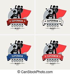 mommy, supermom, logotipo, super, ou, design.