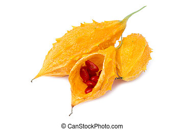 Momordica charantia - Exotic fruit. - Exotic fruit on white...