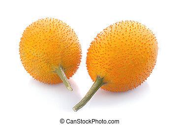 momordica fruit on white background