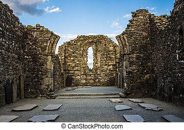 monástico, cidade, com, ruínas, de, catedral