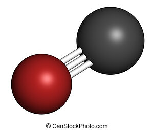 monóxido, molecule., gás, poisoni, (co), tóxico, carbono