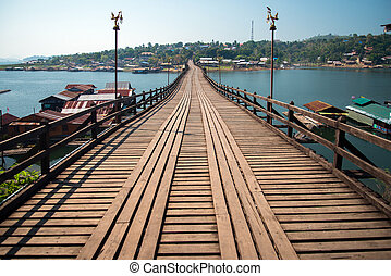 Mon bridge at sangklaburi, kanchanaburi, thailand