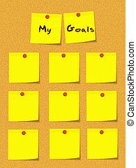 mon, buts, jaune, notes collantes, sur, tableau affichage