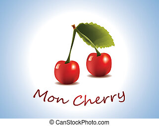 Mon Cherry - fresh cherry fruit on blue background