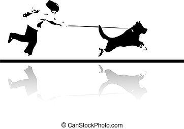 mon, fond, chien de chasse, courant, chien