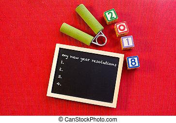 mon, nouvel an, resolutions, -, bonne année, 2018, -, fitness, motivation, concept.