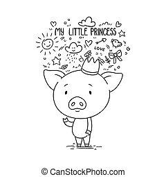 mon, princess., mignon, crown., porcin, peu