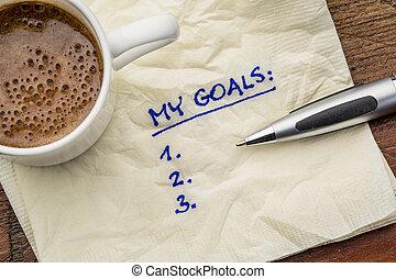 mon, serviette, liste, buts