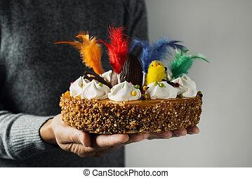 mona, de, pascua, comido, pastel, pascua, españa