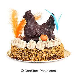 mona, ellen-, pascua, egy, díszített, torta, evett, alatt,...