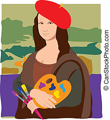 Mona Lisa Artist - The Mona Lisa dressed as an artist