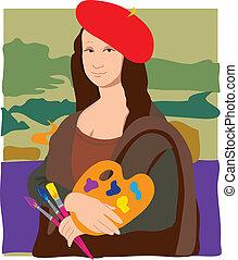 Mona Lisa Artist - The Mona Lisa dressed as an artist