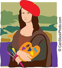 The Mona Lisa dressed as an Artist