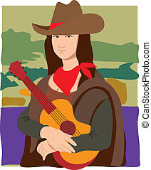 The Mona Lisa dressed as a cowgirl wearing a cowboy hat, a bandana and holding a guitar