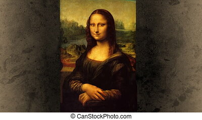 Mona Lisa smile, a funny animation of Leonardo DaVinci's painting with portrait swinging and making a witty eyebrow sign at the end