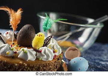 mona, pascua, pastel, españa, pascua, comido, de