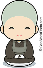 monachisme, bouddhiste, dessin animé
