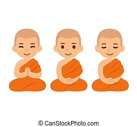 monaci, buddista, carino, cartone animato