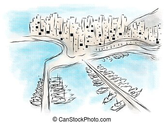 Monaco. abstract illustration of city on multicolor...