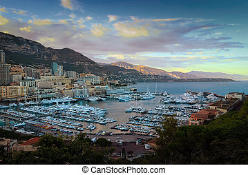Monaco and Monte Carlo principality marina sunset view