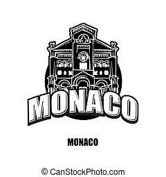 Monaco black and white logo for high quality prints. Hand...