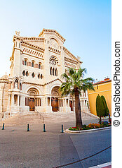 Monaco Cathedral in the sunset.