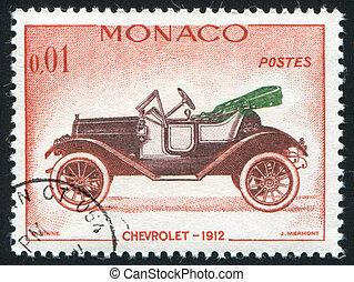 MONACO - CIRCA 1961: stamp printed by Monaco, shows Chevrolet, circa 1961