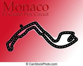 Monaco F1 Formula 1 Racing Circuit Map