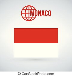 Monaco flag vector illustration isolated on modern background with shadow.