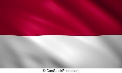 Monaco flag waving in the wind