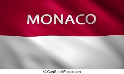 Monaco flag with the name of the country