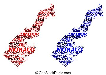 Monaco map - Sketch Monaco letter text map, Principality of...