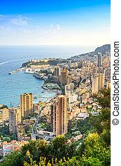 Monaco Montecarlo principality aerial view. Azure coast. ...