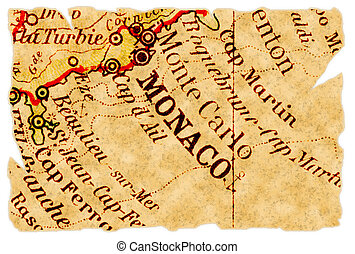 Monaco on an old torn map from 1949, isolated. Part of the old map series.