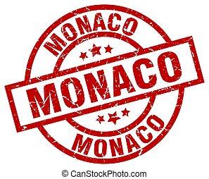 Monaco red round grunge stamp