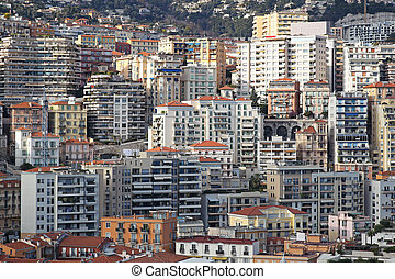 Monaco skycrapers - Overcrowded skyscrapers and buildings in...