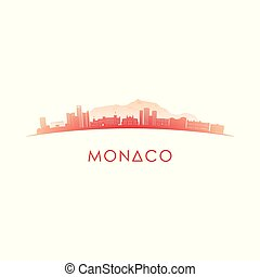 Monaco skyline silhouette. Vector design colorful...