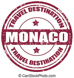 Monaco-stamp - Grunge rubber stamp with text Monaco-Travel...