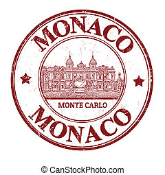 Monaco stamp - Grunge rubber stamp with the grand casino and...