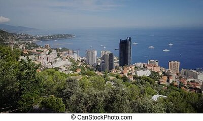 Monaco summer Houses streets and roads with cars in Monte...