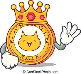 monacoin, rey, estilo, caricatura, mascota
