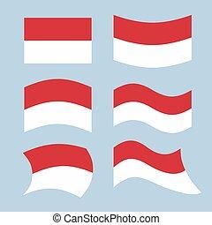 monako, flag., komplet, od, bandery, od, monako, republika, w, różny, forms., rozwijanie, monegasque, bandera, europejczyk, stan