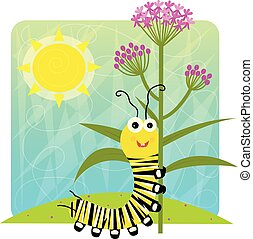 Cute cartoon monarch caterpillar holding flower. Eps10